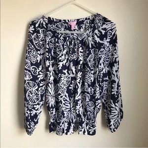 Lilly Pulitzer Blouse Silk Sea Themed Blue White